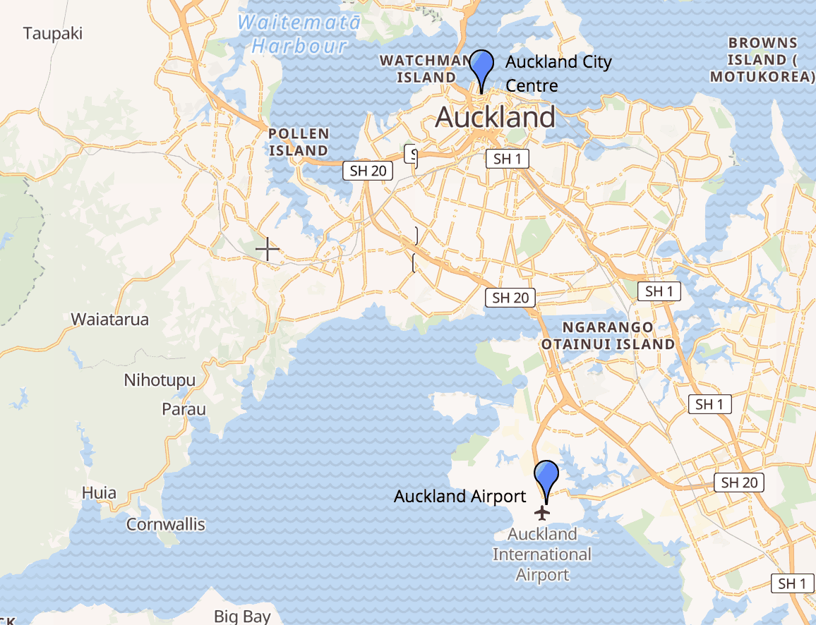 Auckland City and Airport Map