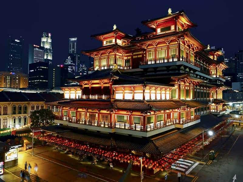 Buddha Tooth Relic Temple Singapore Night Landscape