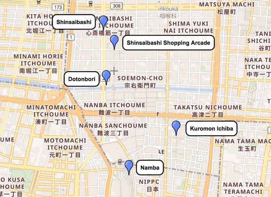 Kita and Minami in Osaka, Japan Map