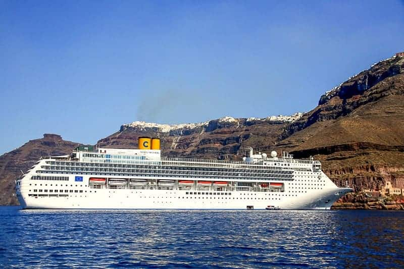 A Cruise Ship Sailing at Santorini, Greece