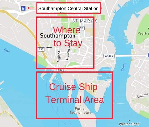 Hotels in Southampton near Cruise Port Map