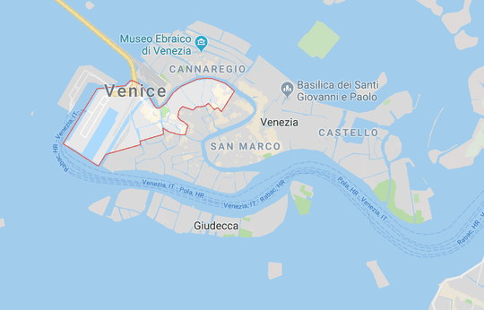 Santa Croce District in Venice, Italy