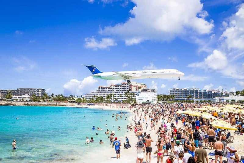 St Maarten Flying Airplane over a Beach