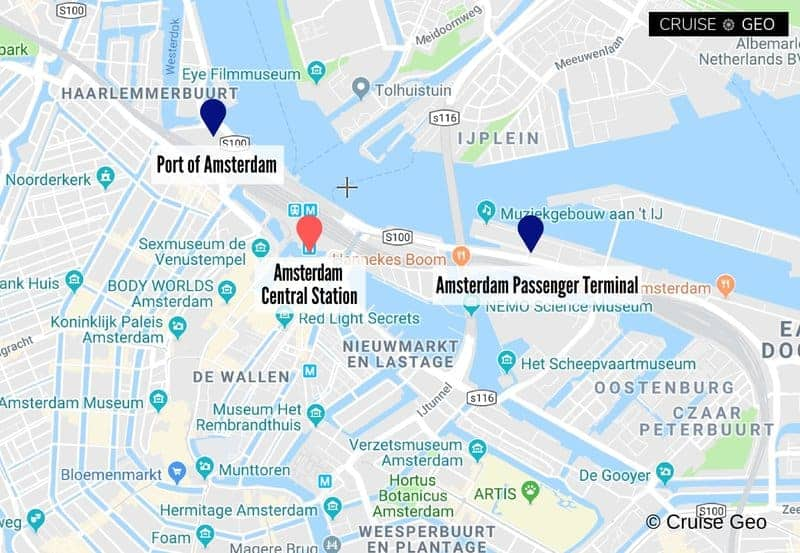 Amsterdam Cruise Port Map, Amsterdam Cruise Terminal Map