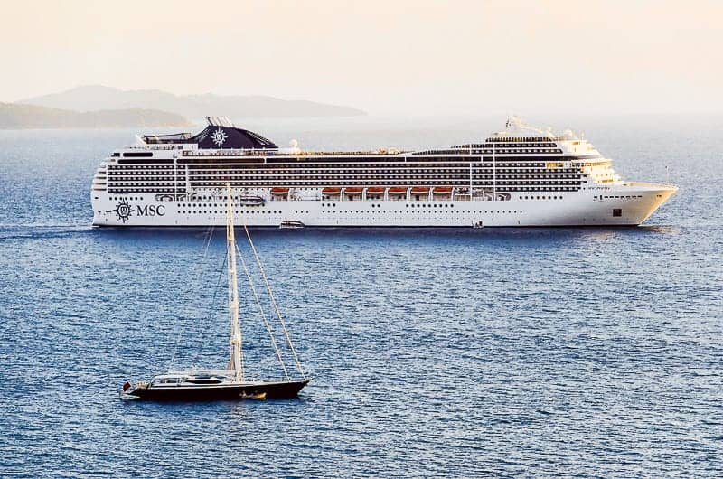A Cruise Ship Sailing in the Mediterranean