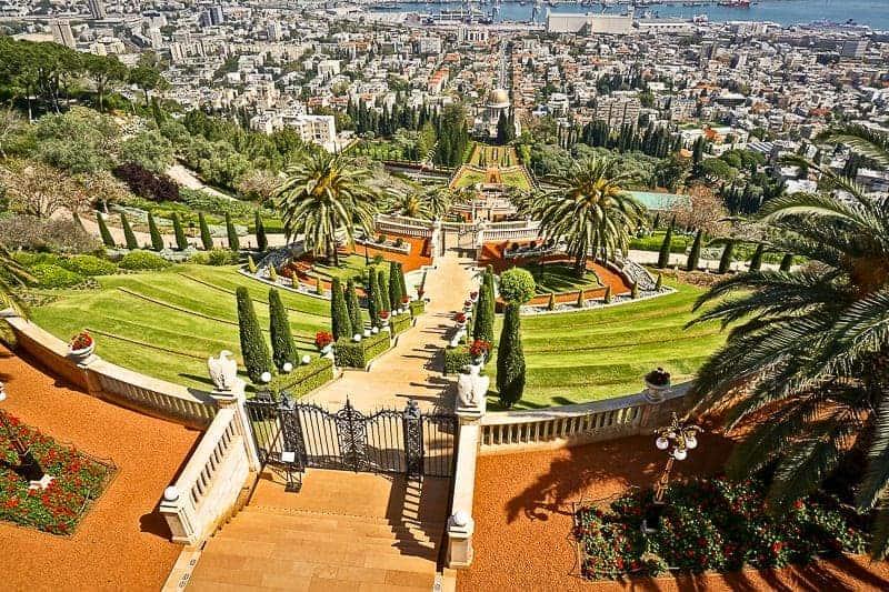 A spectacular view of Bahai Garden in Haifa, Israel