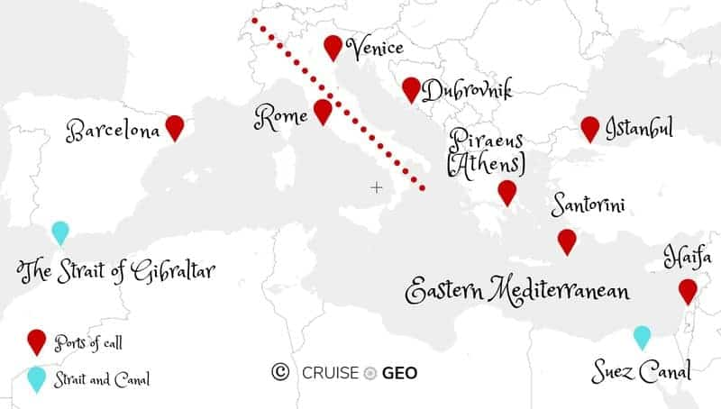 Mapping cruise ports in the east meditteranean