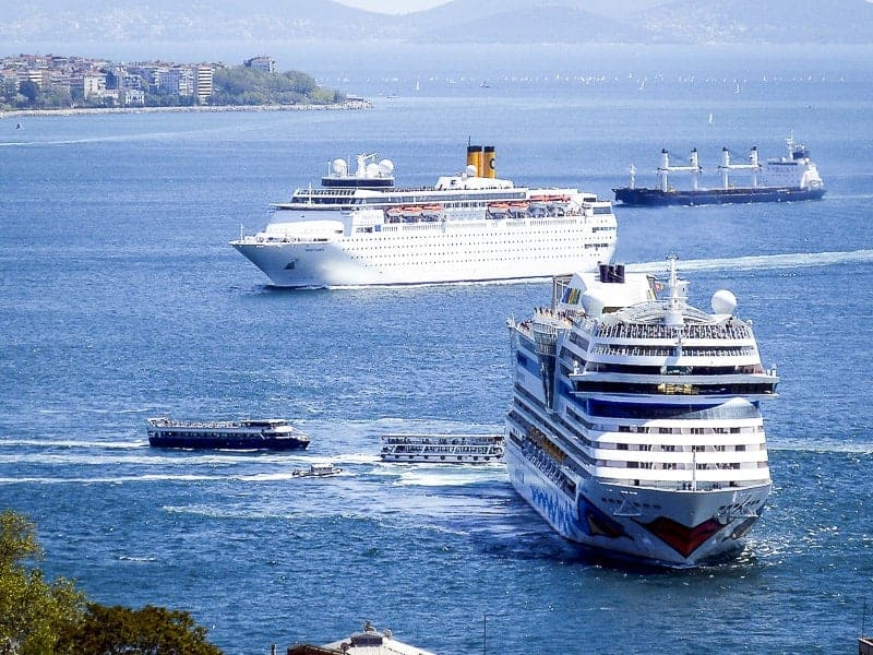 Cruise ships sailing Eastern Mediterranean and is docking in Istanbul, Turkey