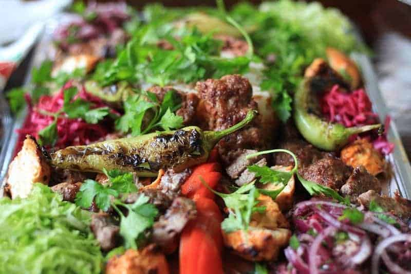 Turkish Kebab with beautifully coloured vegetables