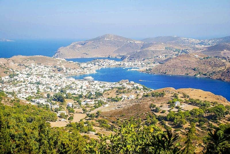 A panoramic Patmos Island landscape with sea and land