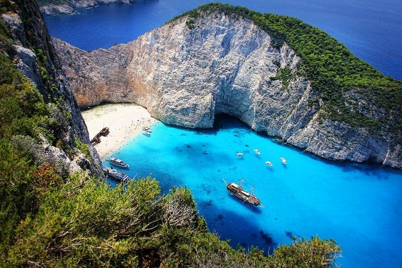 Aakynthos with Blue Water in Greece