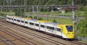 Arlanda Express Train in Stockholm, Sweden is heading to Stockholm Central Station