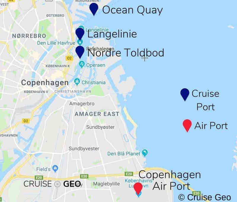Copenhagen Cruise Port and Copenhagen Airport Map