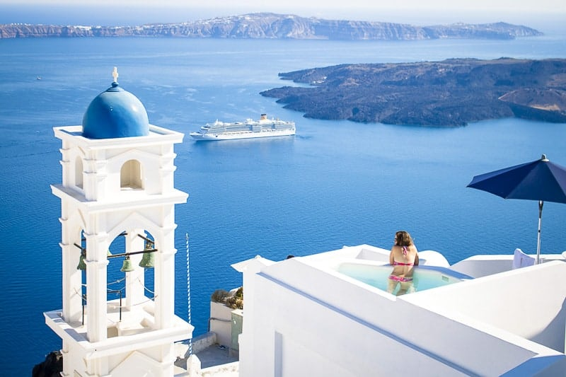 A Cruise Ship at Santorini, Greece