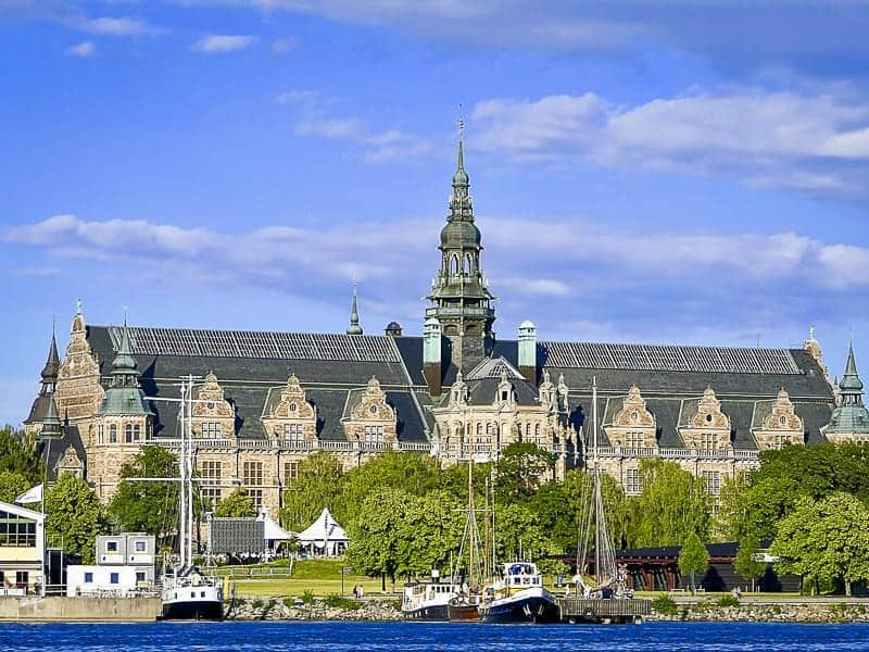 A beautiful Nordic Museum image with water front and blue sky