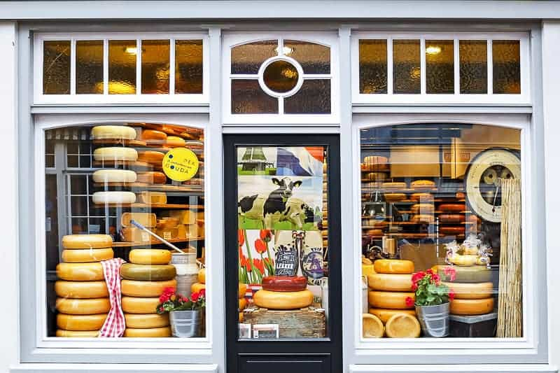 A cheese shop at a hotel near cruise ship terminal in Amsterdam, Netherlands