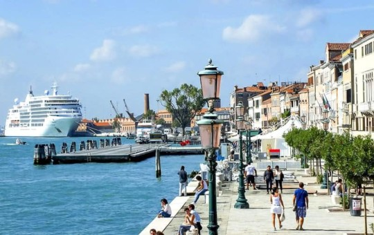 A cruise ship is docking at Venice Cruise Port, Italy