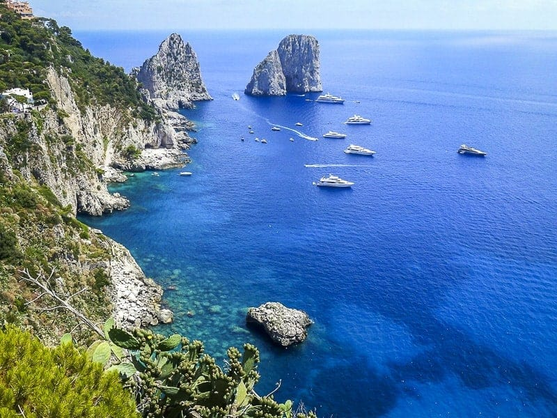 A cliff and blue water at Capri in Italy