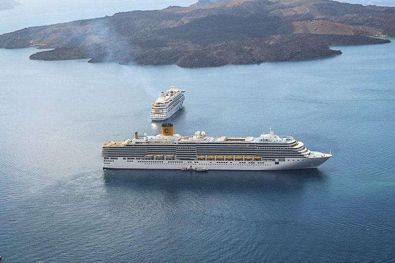 Cruise Ships sailing in Santorini, Greece