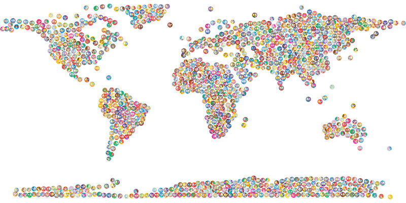 World Map with Colourful Pins