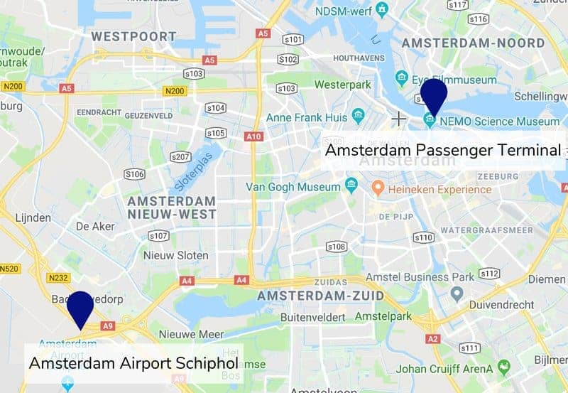 Amsterdam Airport and Amsterdam Passenger Terminal Map