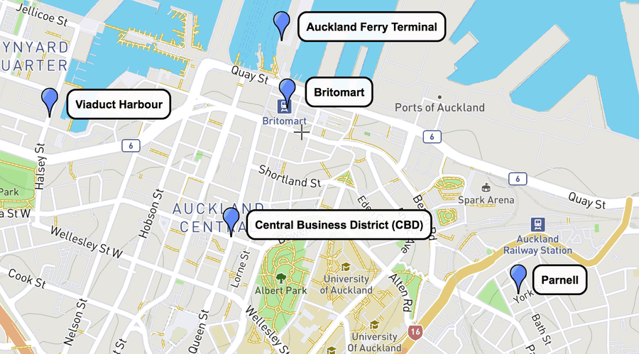 Auckland Best Areas for the Best Hotels Map