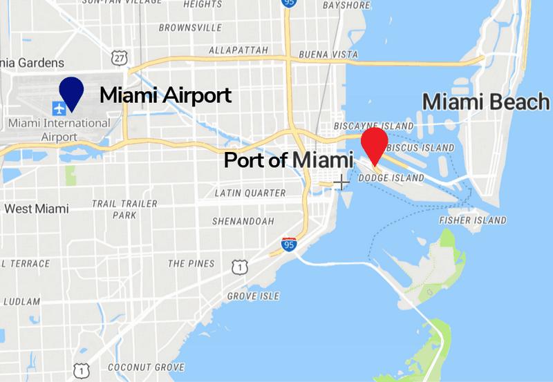 Miami Airport and Miami Cruise Port Map