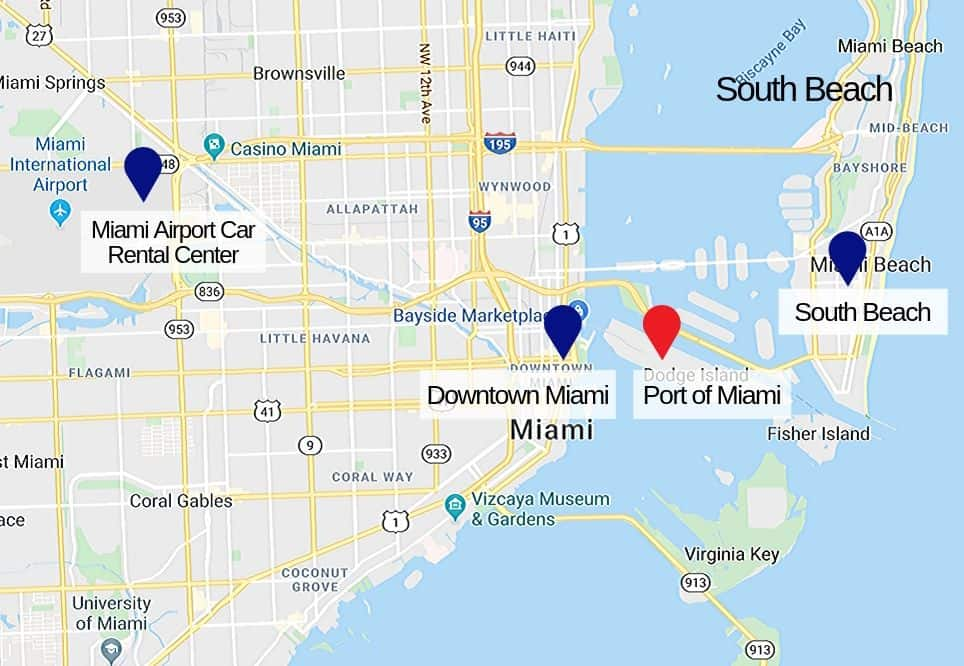 Car Rental Shuttle to/from the Port of Miami Map