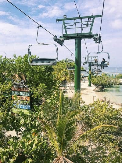 Transferring to Mahogany Bay Beach by a flying chair