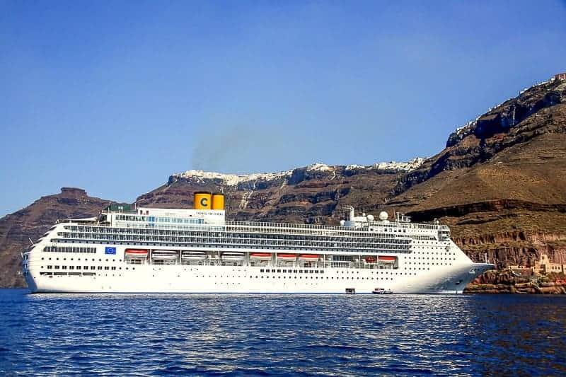A Cruise Ship Sailing at Santorini, Greece