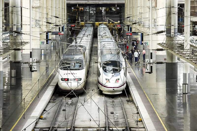 Two Renfe Trains Stationed in Barcelona, Spain