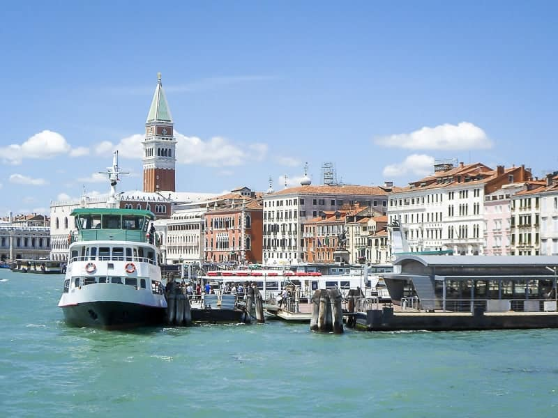 A water bus floating on the Venetian Lagoon in Venice, Italy