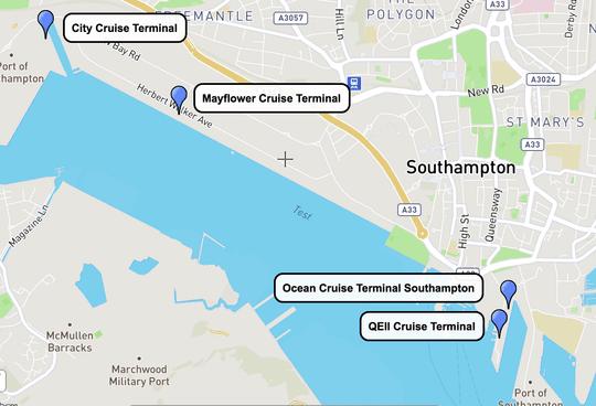 Southampton Cruise Terminal Map