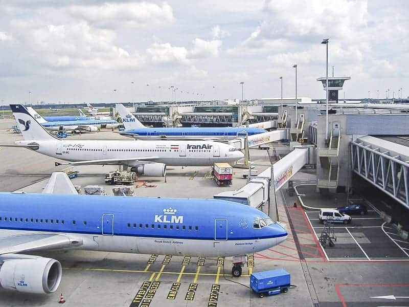 KLM flight carrying the passengers at Amsterdam Airport