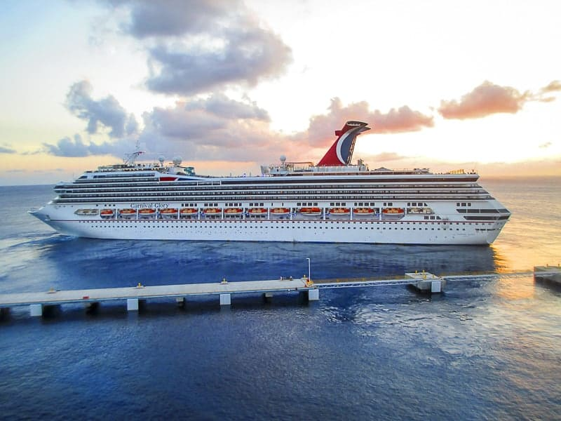 Carnival Glory Cruising at Sunset