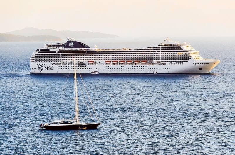 A Cruise Ship Sailing in the Mediterranean