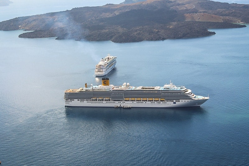 Cruise ships sailing to Santorini, Greece