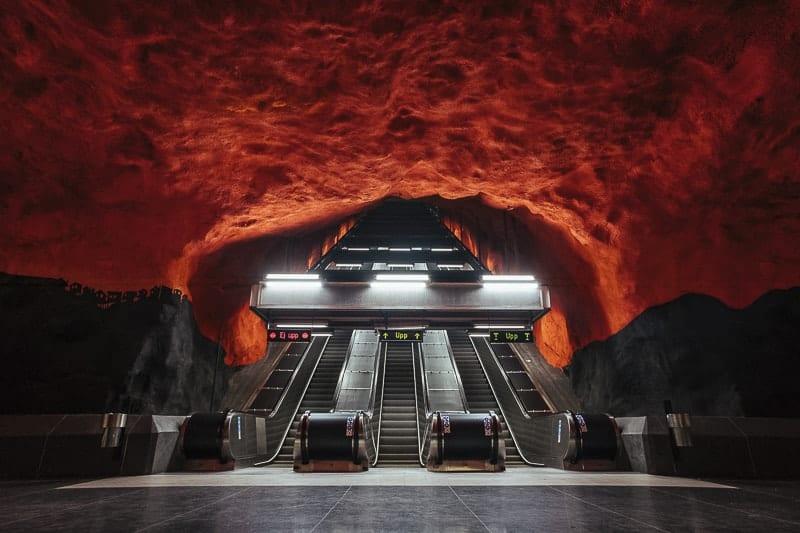 Stockholm Underground Painting Red