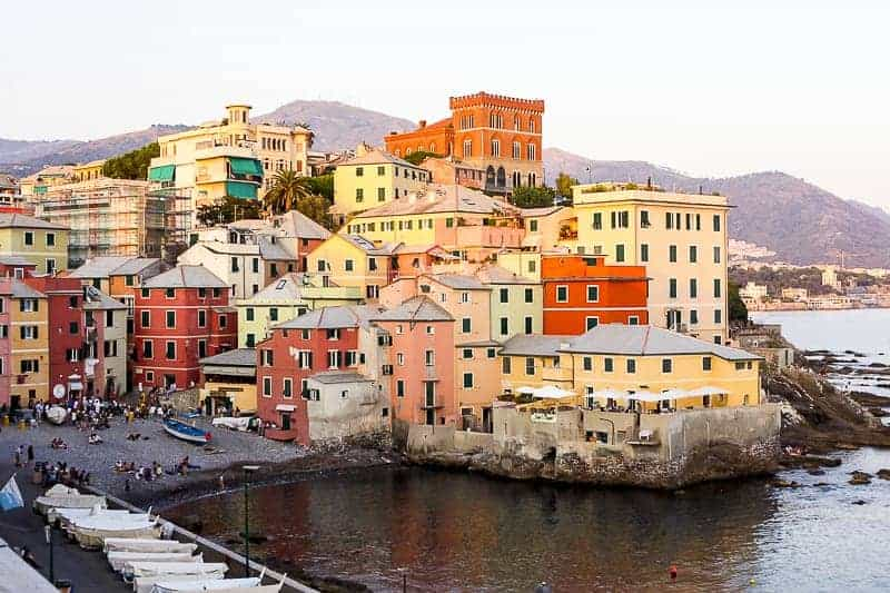 Beautiful and colourful buildings at the waterfront in Genoa, Italy