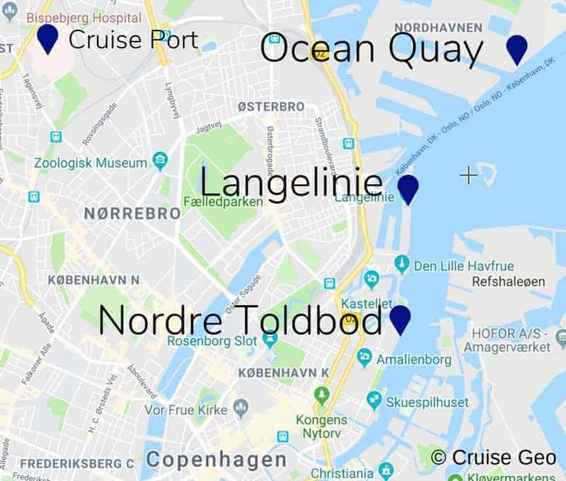 Copenhagen Cruise Port Terminals - Ocean Quay, Langelinie and Nordre Toldbod
