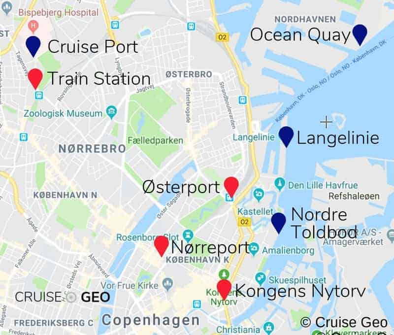 Copenhagen Cruise Port and Train Station Map