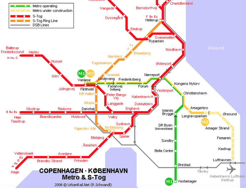 Metro Map from Copenhagen Airport to City Centre