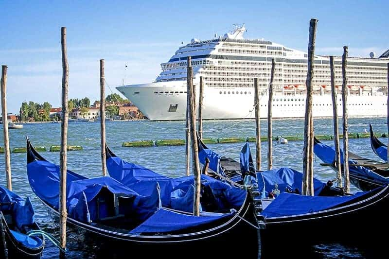 Cruise Ship and gondolas in Venice, Italy