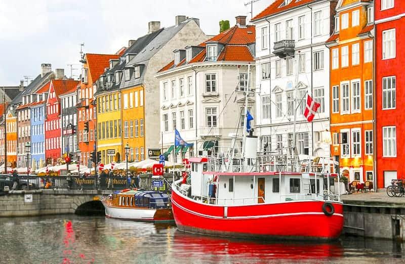Red Boat at Nyhaven in Copenhagen, Denmark
