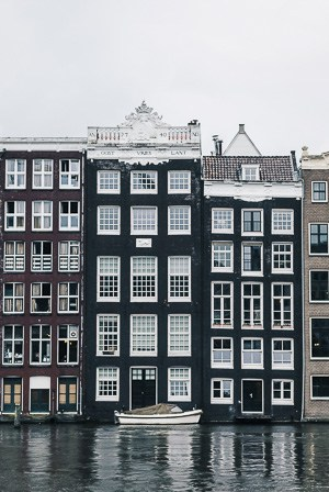 Beautiful residential area close to cruise port of Amsterdam in Netherlands.