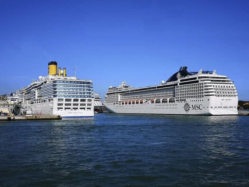 MSC and Costa Cruise Ship docking at Civitavecchia