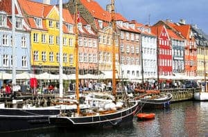 Beautiful and colourful buildings in Nyhavn at Copenhagen, Denmark