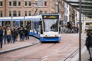 Tram running in Amsterdam, Netherlands