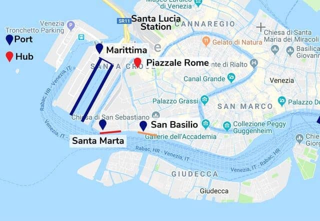 Venice Cruise Port Map - Port of Venice: Stazione Marittima, Santa Marta and San Basilio quays as well as Santa Lucia Station and Piazzale Roma