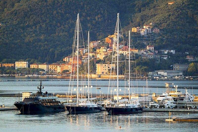 A sunset landscape at a port in La Spezia in Italy - west mediterranean